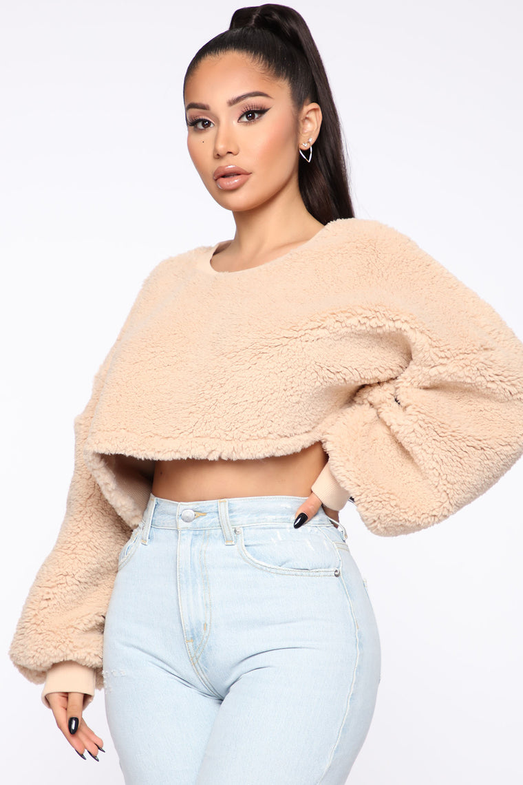 Cozy Thoughts Sherpa Pullover   Taupe by Fashion Nova