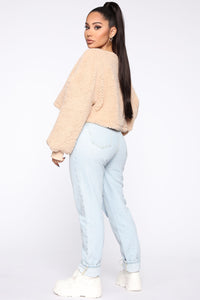 Cozy Thoughts Sherpa Pullover - Taupe