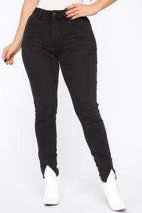 Split Ends High Rise Skinny Jeans - Black Angle 2