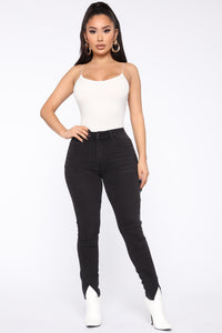 Split Ends High Rise Skinny Jeans - Black
