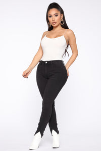 Split Ends High Rise Skinny Jeans - Black Angle 3