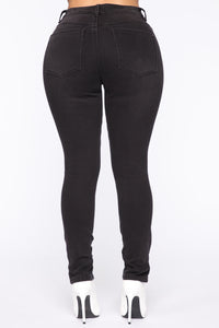 Split Ends High Rise Skinny Jeans - Black Angle 6
