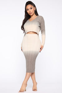 Knits Over Sweater Skirt Set - Natural/Grey