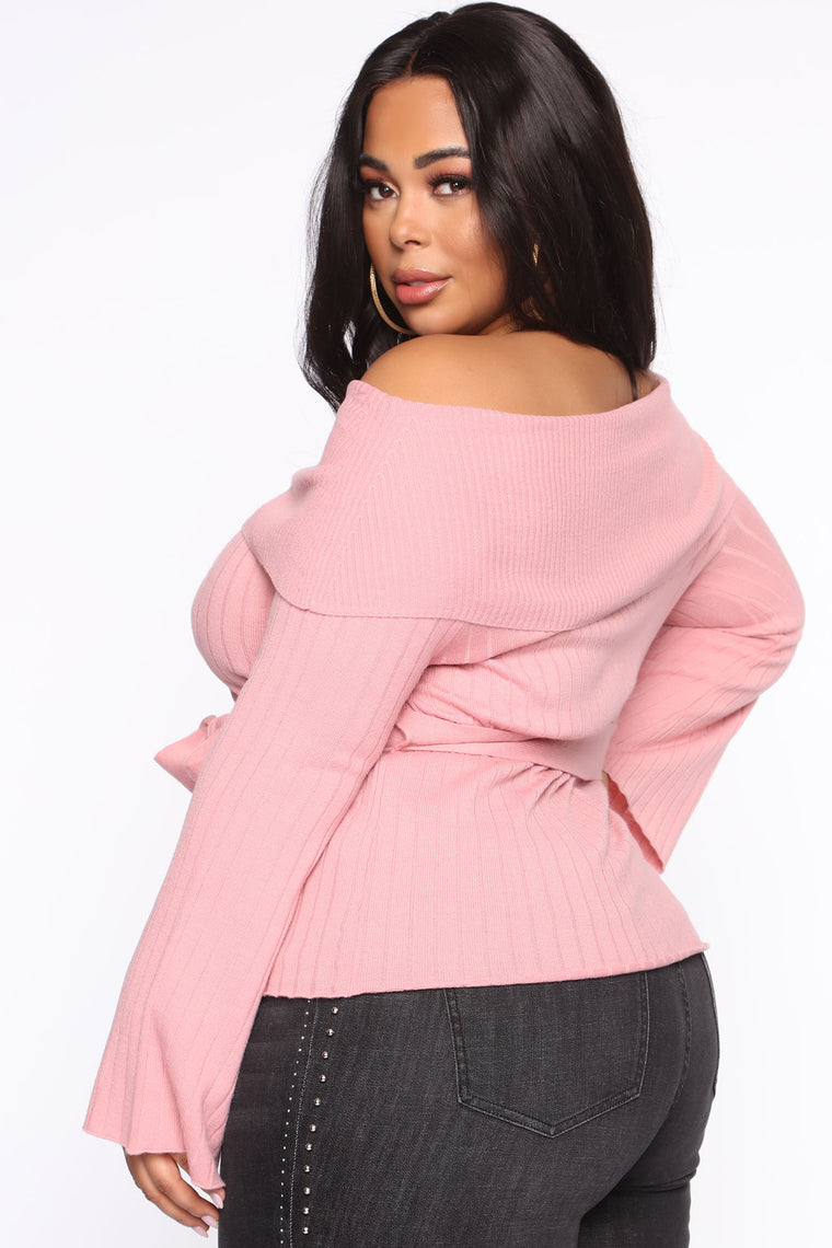 Delicate Lady Off Shoulder Sweater - Mauve