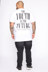 Future Youth Side Zip Short Sleeve Tee - White/Black
