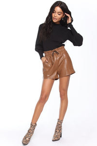 Sasha Faux Leather Short - Brown Angle 1
