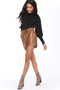 Sasha Faux Leather Short - Brown Angle 4