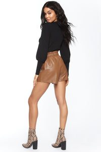 Sasha Faux Leather Short - Brown Angle 5