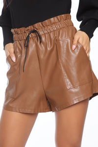 Sasha Faux Leather Short - Brown Angle 2