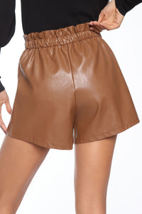 Sasha Faux Leather Short - Brown Angle 6