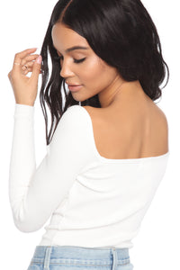 Melinna Long Sleeve Bodysuit - White
