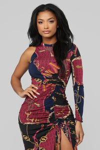 Chained To Your Love One Sleeve Dress - Burgundy