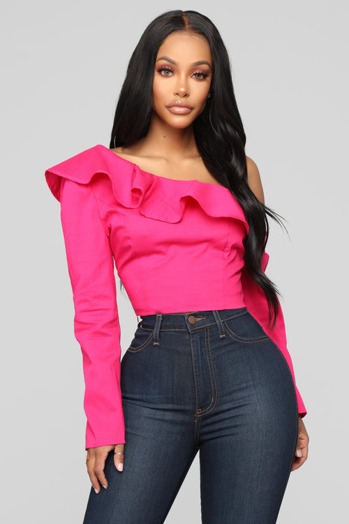 Ruffle Me Up One Shoulder Top - Hot Pink