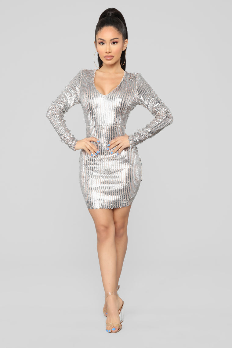 Living In The Spotlight Sequin Dress - Silver