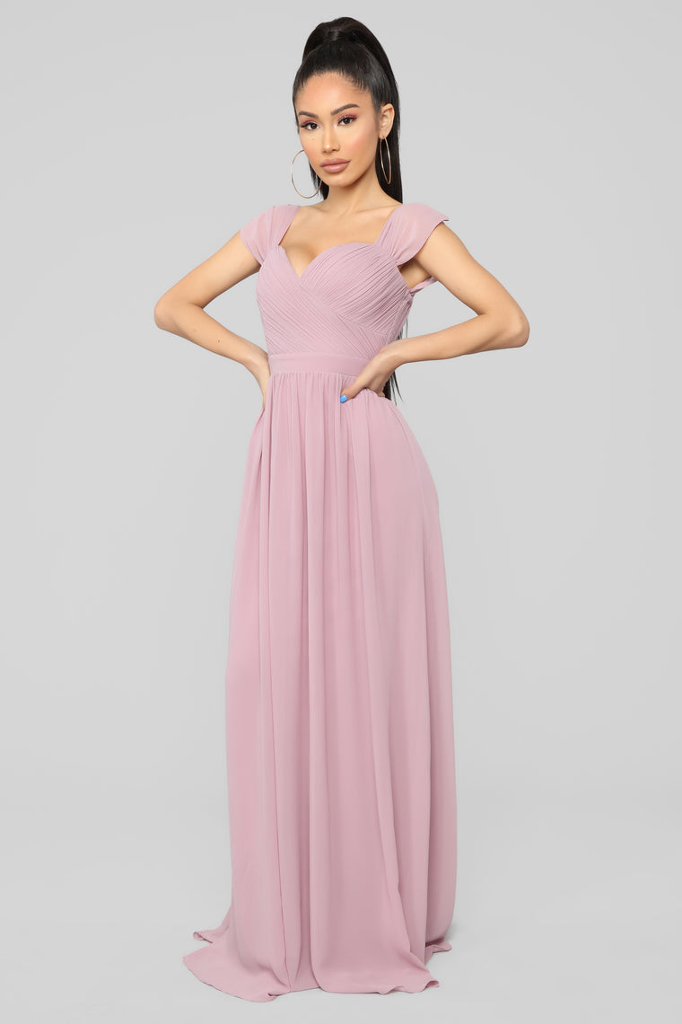 Lovely Day Off Shoulder Dress - Mauve