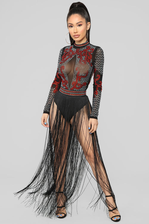 Burning Passion Skirt Set - Black/Rust