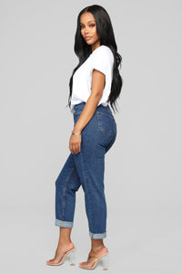 I Got It From My Mama Jeans - Dark Denim Angle 6