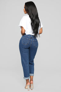 I Got It From My Mama Jeans - Dark Denim Angle 8