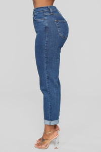 I Got It From My Mama Jeans - Dark Denim Angle 5