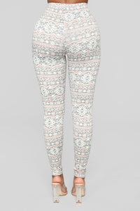 On The Nice List Holiday Leggings - Grey/Combo