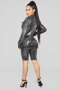 Dance The Night Away Sequin Short Set - Silver