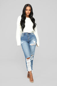 Bennie Boyfriend Jeans - Medium Blue Wash