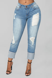 Eddie Boyfriend Jeans - Medium Wash Angle 1
