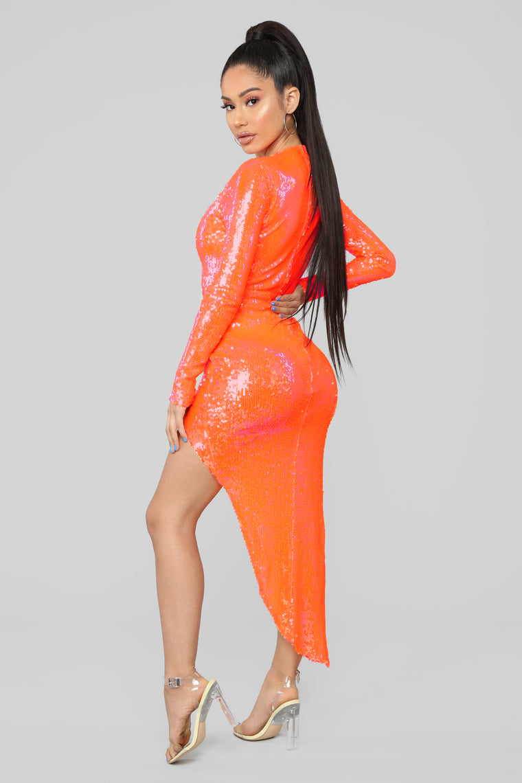 Look On The Bright Side Asymmetrical Dress - Neon Orange