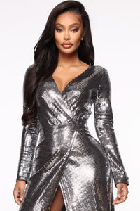 Disco Dreams Metallic Dress - Silver