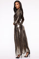 Disco Dreams Metallic Dress - Gold