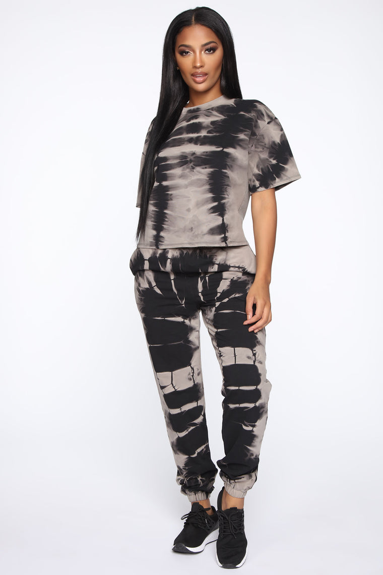 In A Vibe Tie Dye Lounge Jogger - Black/Grey