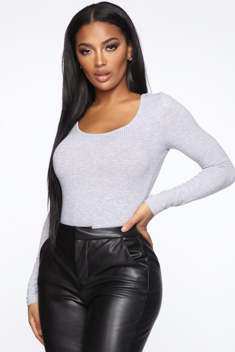 Goes With Everything Ribbed Bodysuit - Heather Grey