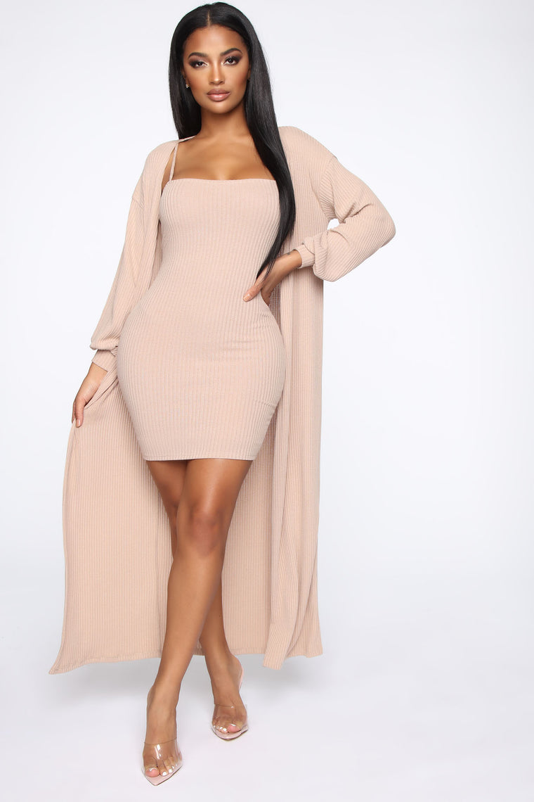 Wrapped In Warmth Dress Set   Taupe by Fashion Nova