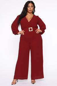 Dahlia Belted Jumpsuit - Burgundy Angle 5