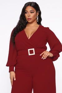 Dahlia Belted Jumpsuit - Burgundy Angle 6