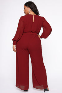 Dahlia Belted Jumpsuit - Burgundy Angle 8