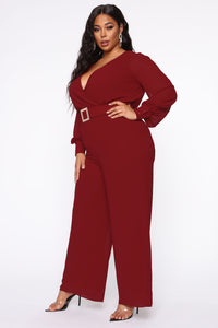 Dahlia Belted Jumpsuit - Burgundy Angle 7