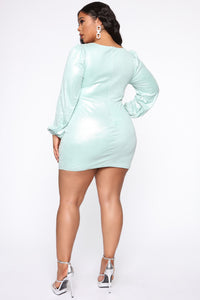 You Got Me Suede Mini Dress - Mint Angle 6