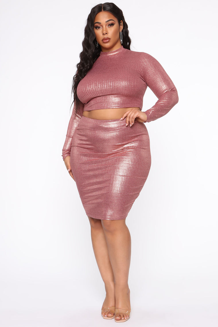 Need Lovin' Too Ribbed Skirt Set - Rose