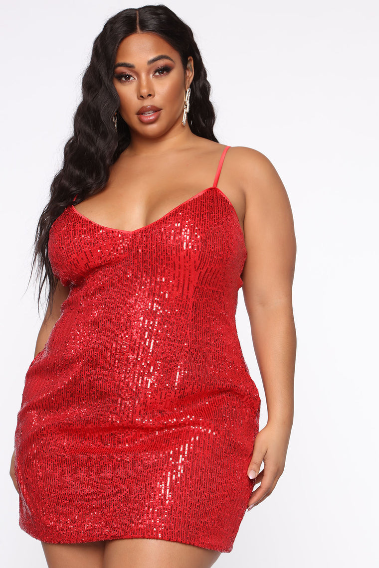 Into You Sequin Mini Dress - Red