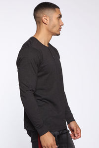 Essential Henley Long Sleeve Top - Charcoal
