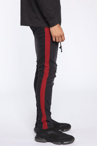Teek Racing Stripe Skinny Jeans - Black/Red