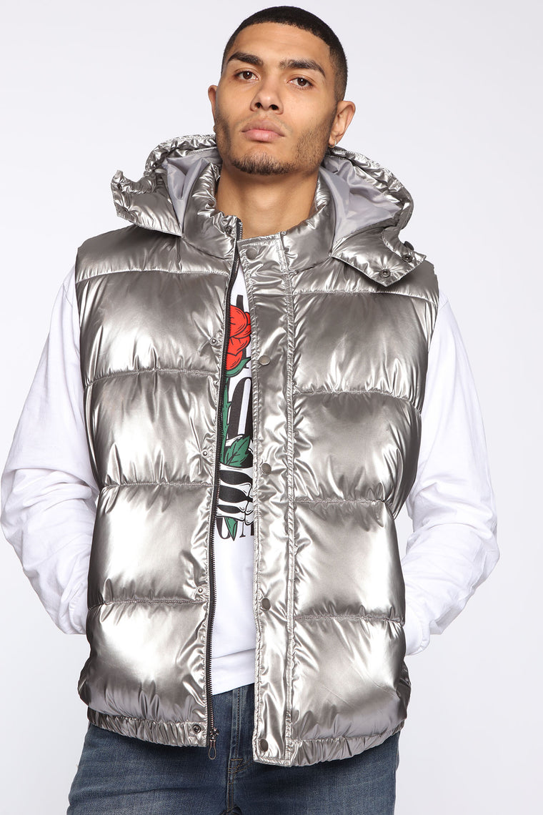 Keep Moving Forward Metallic Puffer Vest   Silver by Fashion Nova