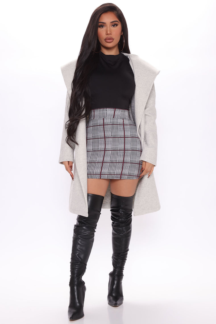 Warm Love Affair Belted Jacket - Heather Grey