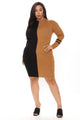 Duel Personality Sweater Mini Dress - Black/combo