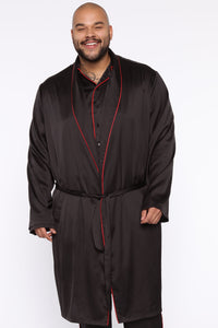 Evening Satin Robe - Black
