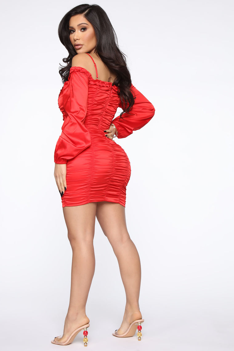 Future Of Beauty Satin Ruched Mini Dress - Red