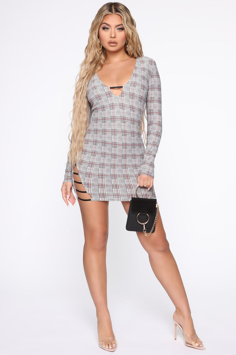 Oh Hey Plaid Mini Dress - Black
