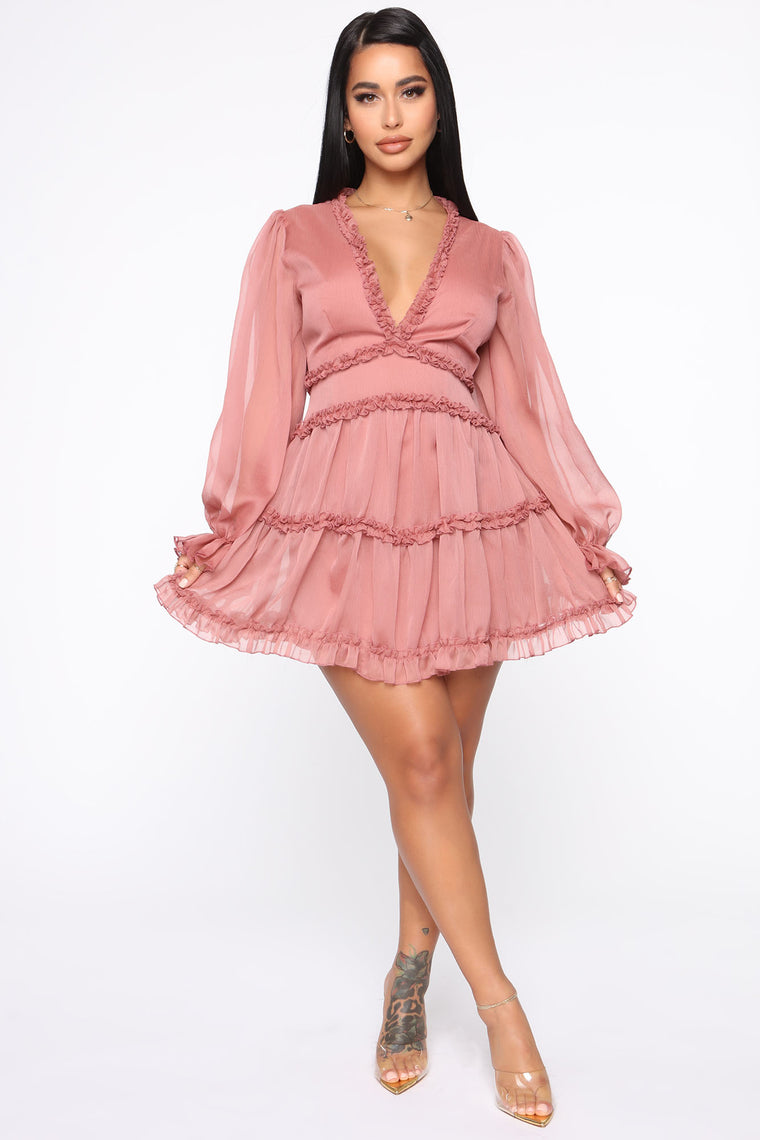 Juliet Flare Ruffle Mini Dress - Mauve