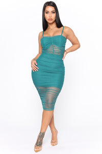 Fresh Like The Breeze Mesh Midi Dress - Teal Angle 1
